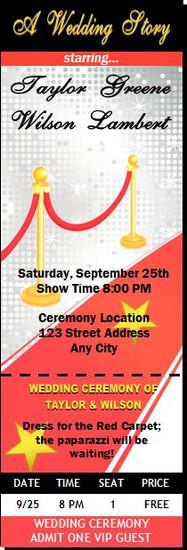 Hollywood Red Carpet Wedding Ticket Invitation