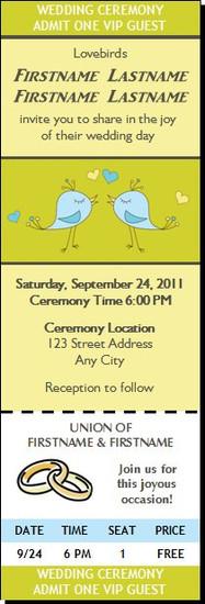 Lovebirds Wedding Ticket Invitation