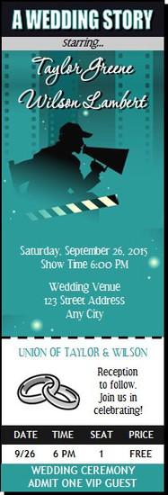Movie Star Wedding Ticket Invitation