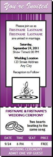 Music Clef Wedding Ticket Invitation