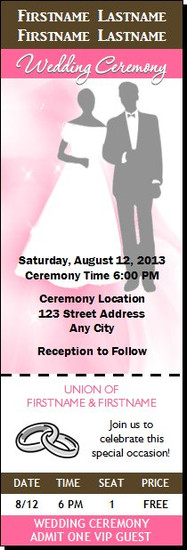 Neopolitan Wedding Ticket Invitation