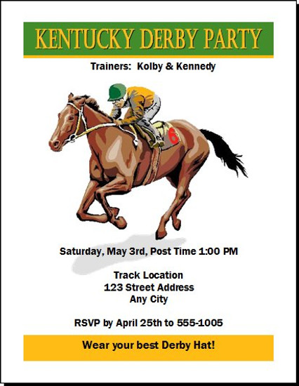 Kentucky Derby Party Invitation Design 2
