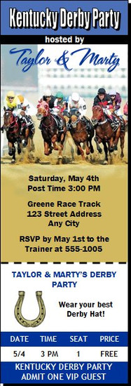 Kentucky Derby They're Off Party Ticket Invitation