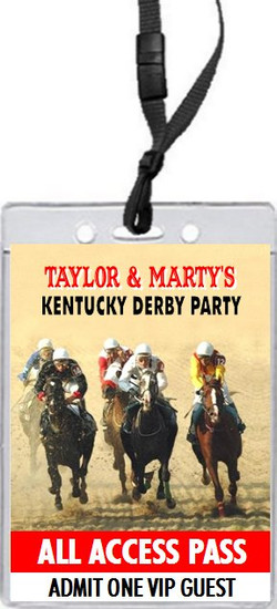 Kentucky Derby The Race Is On Party VIP Pass Invitation Front