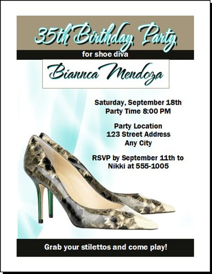 A Choo Stiletto Birthday Party Invitation