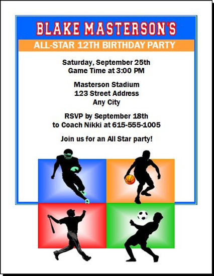 All Star Sports Birthday Party Invitation