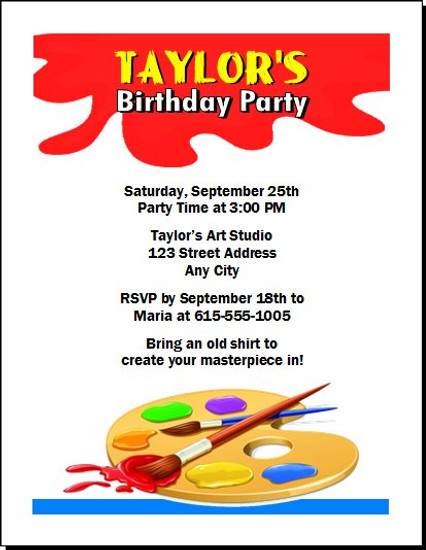 Artist Birthday Party Invitation