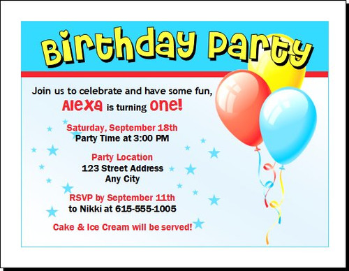 Balloons and Stars Birthday Party Invitation