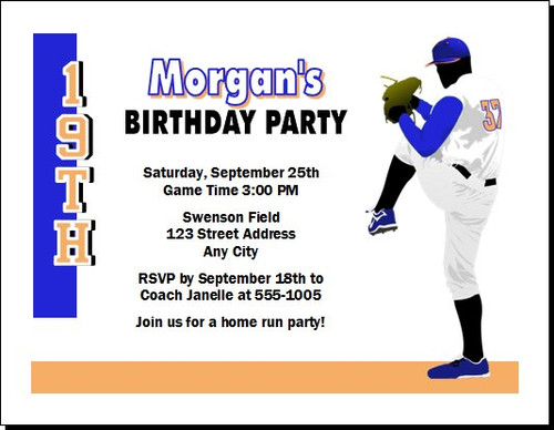 Baseball Pitcher Birthday Party Invitation Orange Blue