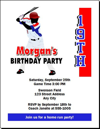 Baseball Player Birthday Party Invitation