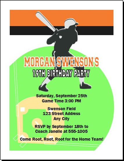 Baseball Slugger Birthday Party Invitation