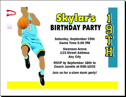 Basketball Aqua Yellow Birthday Party Invitation