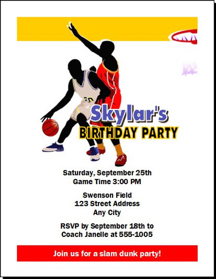 Basketball Blue Gold Red Birthday Party Invitation