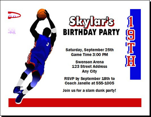 Basketball Blue Red Birthday Party Invitation