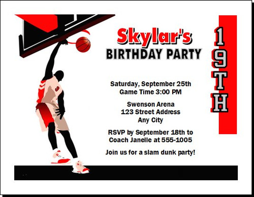 Basketball Dunk Red Birthday Party Invitation