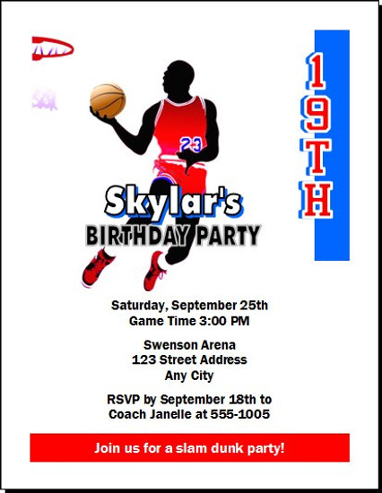 Basketball Red Blue Birthday Party Invitation