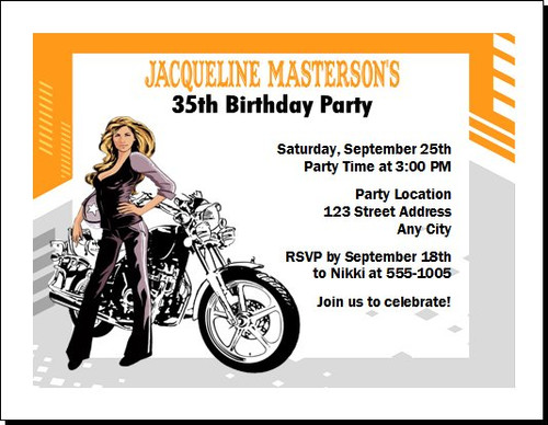 Biker Chick Birthday Party Invitation