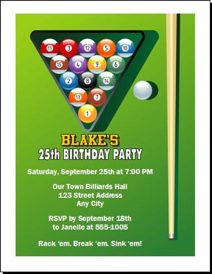 Billiards Table Birthday Party Invitation