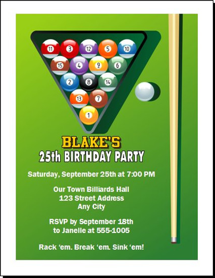 Billiards Table Birthday Party Invitation