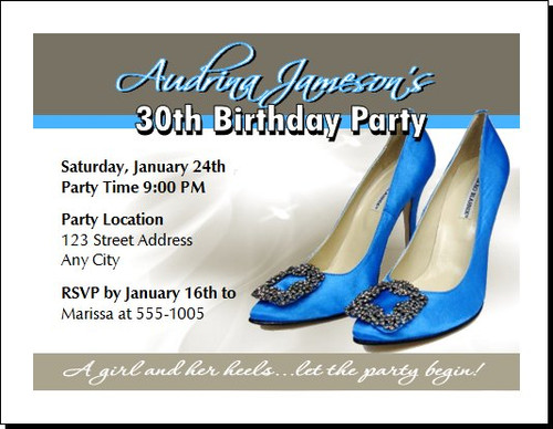 Blue Stiletto Birthday Party Invitation