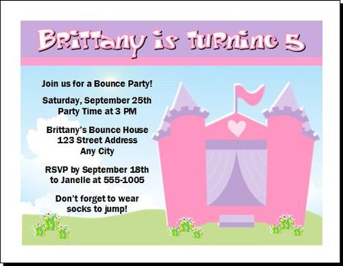 Bounce House Castle Birthday Party Invitation