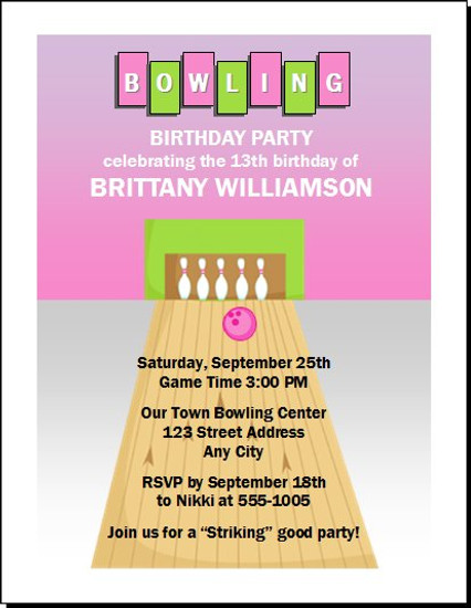 Bowling Pink Birthday Party Invitation