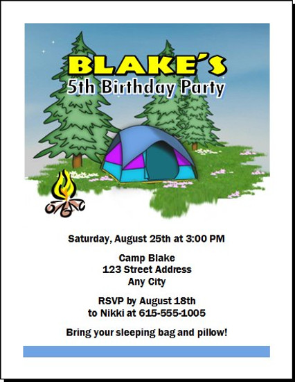 Camping Out Birthday Party Invitation