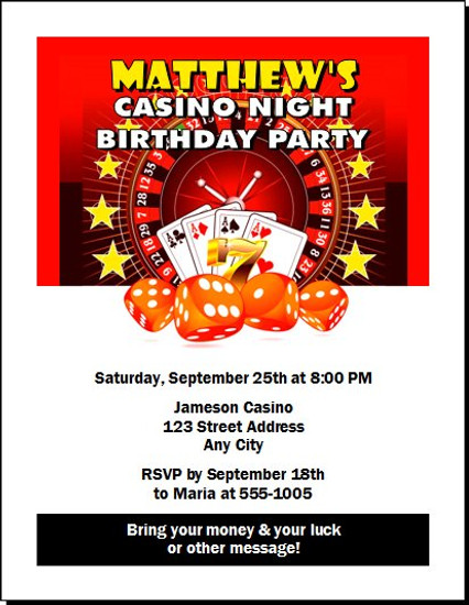 Casino Dice Birthday Party Invitation