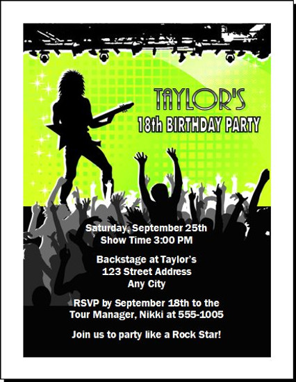 Concert Guitarist Male Birthday Party Invitation