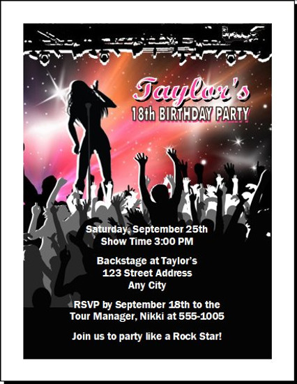 Concert Singer Female Birthday Party Invitation