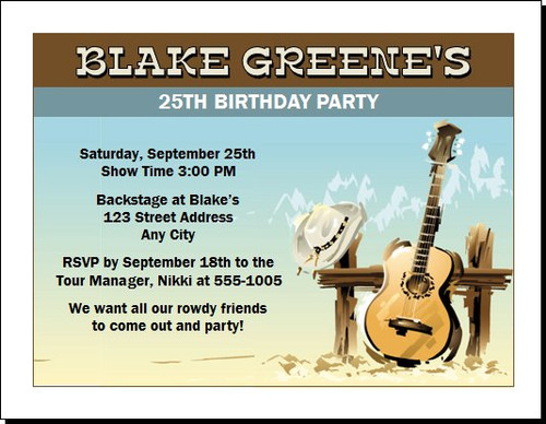 Country Music Star Birthday Party Invitation