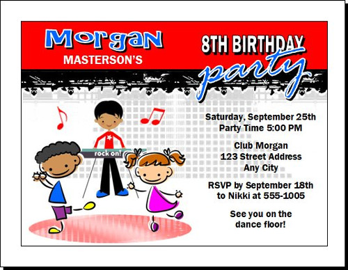 Dance Club Kids Red Birthday Party Invitation