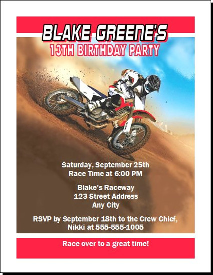 Dirtbike race red birthday party invitation filmwisefo