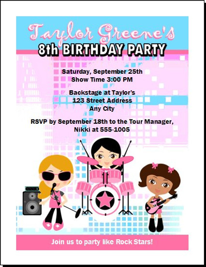 Girl Rock Band Birthday Party Invitation Pink/Blue