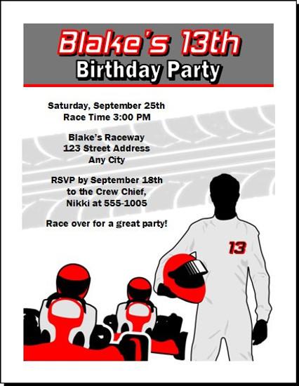 Go Kart Driver Birthday Party Invitation