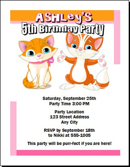 Kitten Birthday Birthday Party Invitation