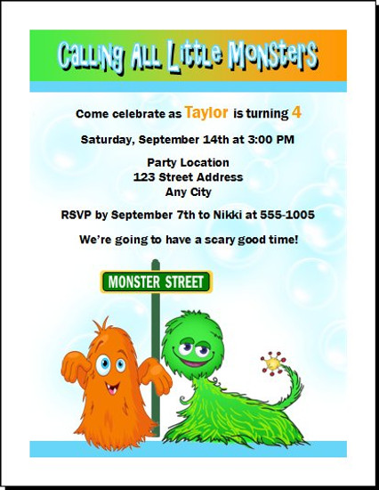 Little Monsters Birthday Party Invitation