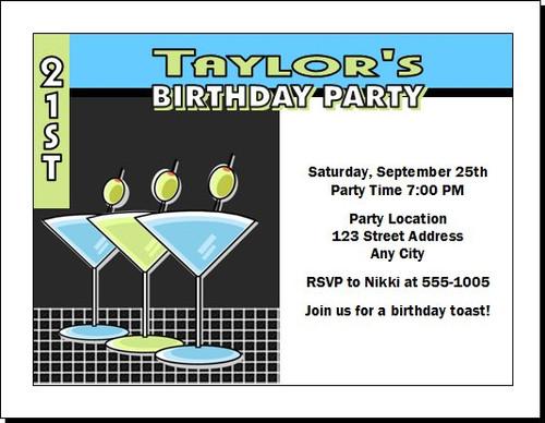 Martinis Blue Green Birthday Party Invitation
