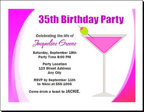 Pink Martini Birthday Party Invitation