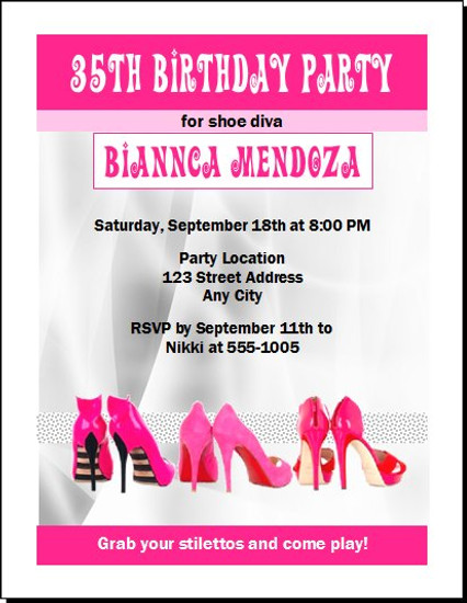 Pink Stiletto Birthday Party Invitation