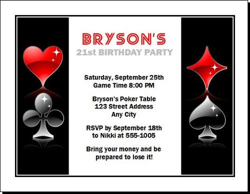 Poker Party Birthday Invitation