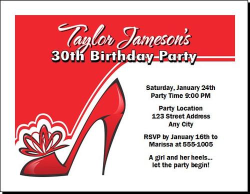 Red Stiletto Birthday Party Invitation