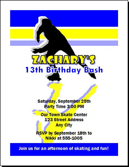Roller skater male birthday party invitation roller skater male birthday party invitation set of 12 filmwisefo