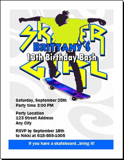 Skateboard Girl Birthday Party Invitation