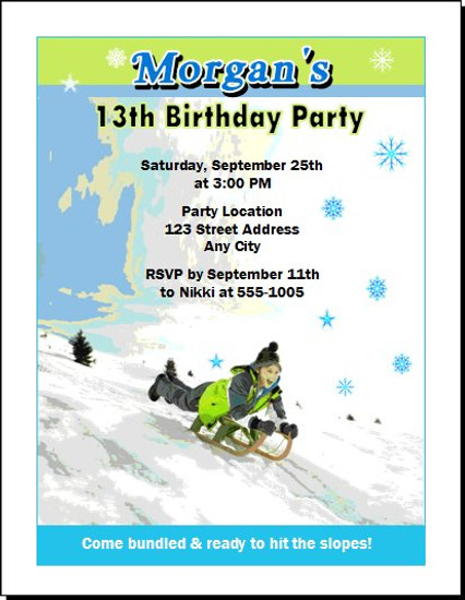 Snow Sledding Birthday Party Invitation Set of 12