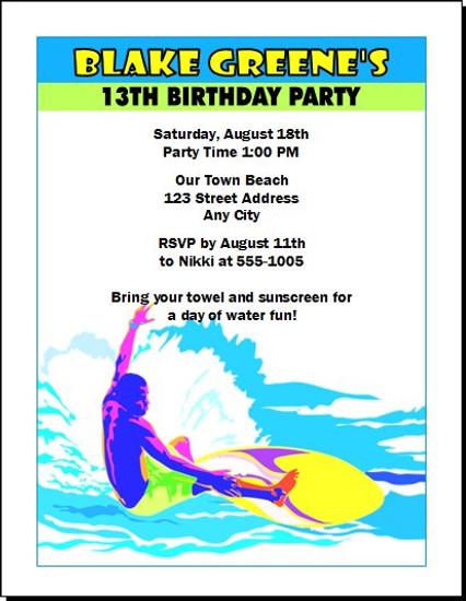 Surfs up birthday party invitation set of 12 surfs up birthday party invitation stopboris Image collections