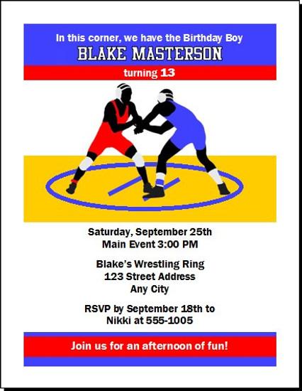 Wrestling match birthday party invitation set of 12 wrestling match birthday party invitation filmwisefo