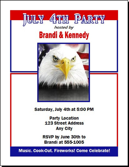 American Eagle 4th of July Party Invitation