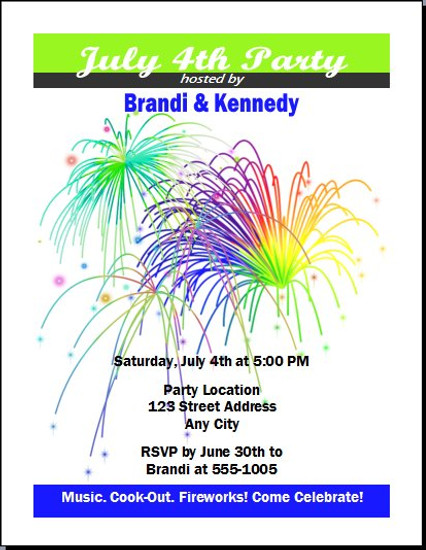 Fireworks 4th of July Party Invitation