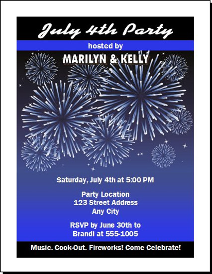 Fireworks Blue 4th of July Party Invitation